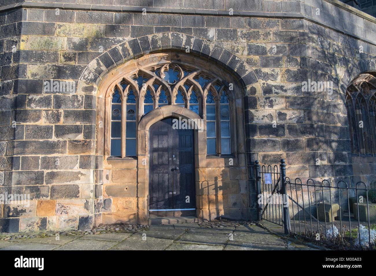 Lancaster Castle doorway Lancaster Lancashire UK - Stock Image