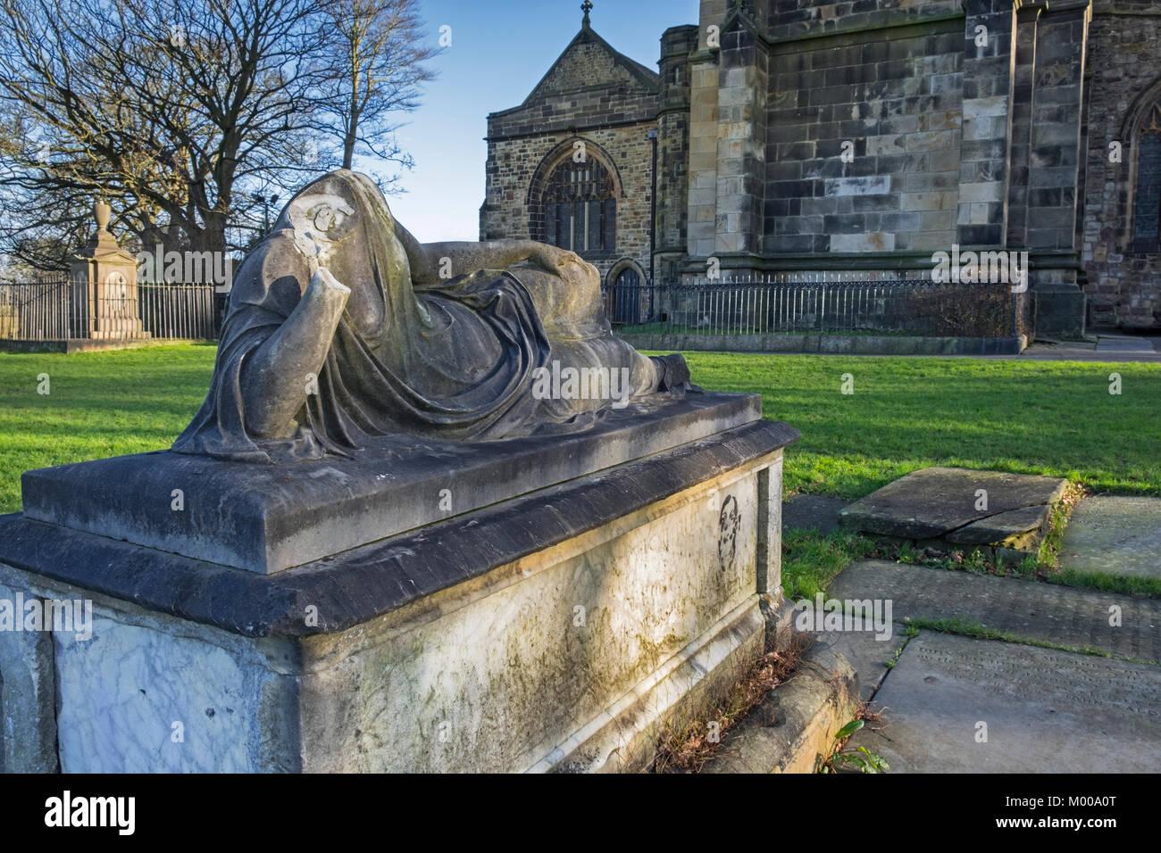 Lancaster Priory churchyard Lancaster Lancashire UK - Stock Image
