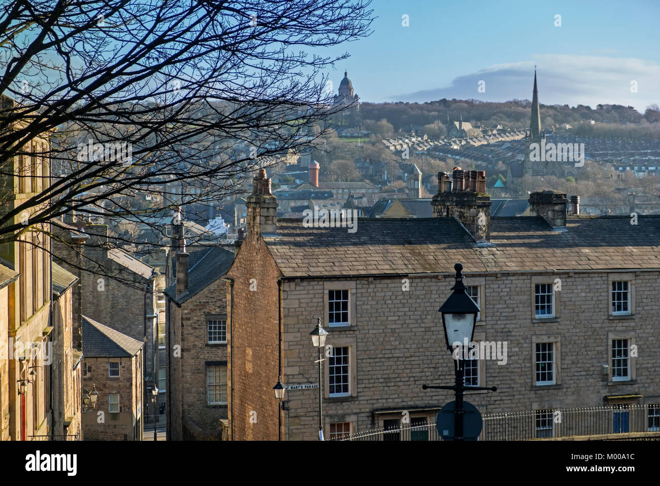 City view to Ashton Memorial Lancaster Lancashire UK - Stock Image