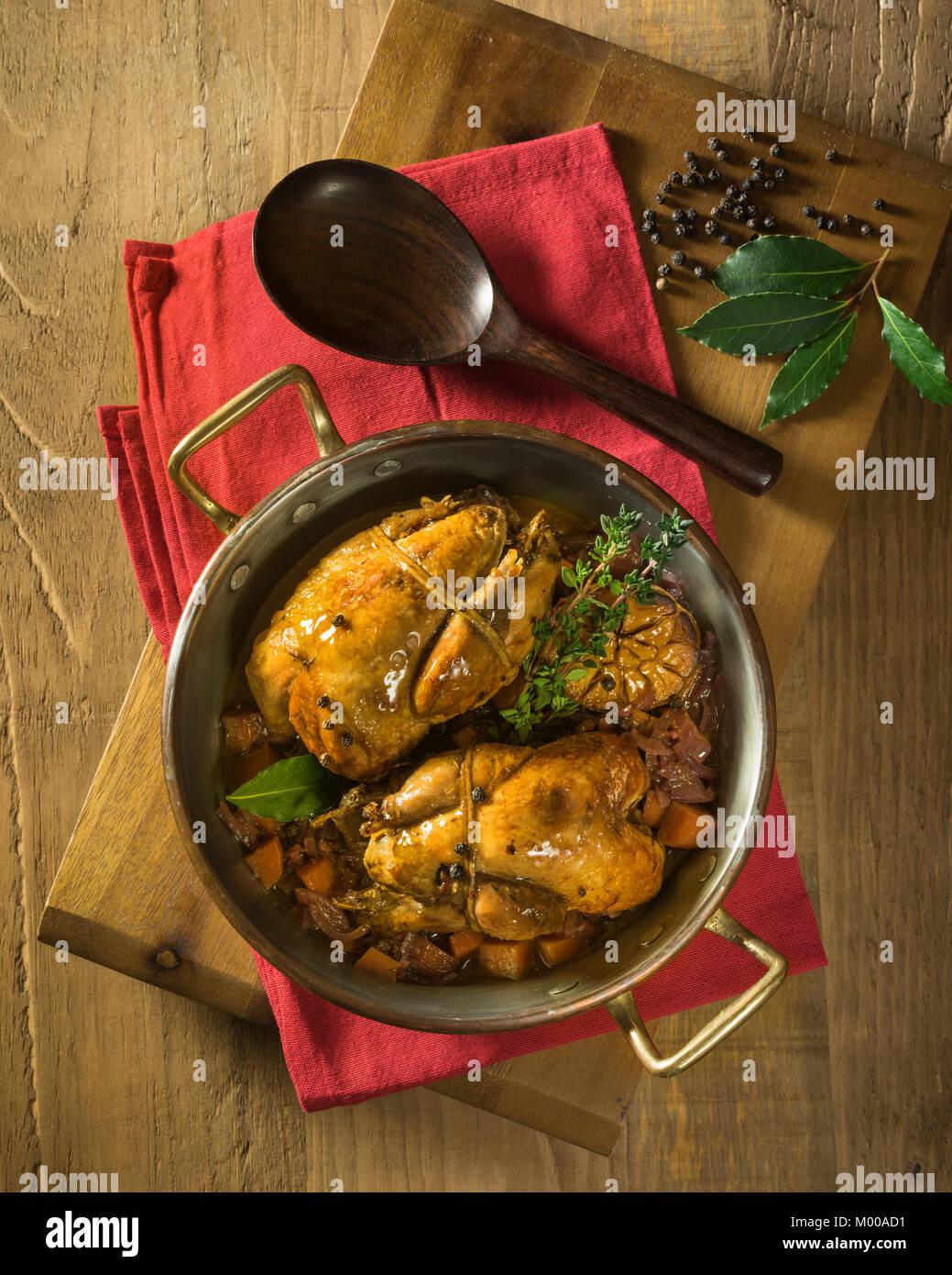 Perdiz estofada Toledana. Braised partridge Toledo style. Spain Food - Stock Image