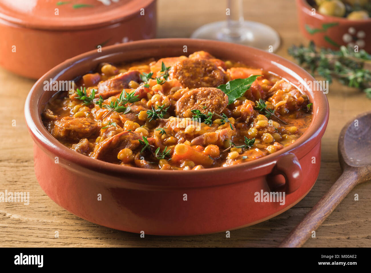 Lentejas a la Riojana. Spanish lentil stew. Food Spain - Stock Image