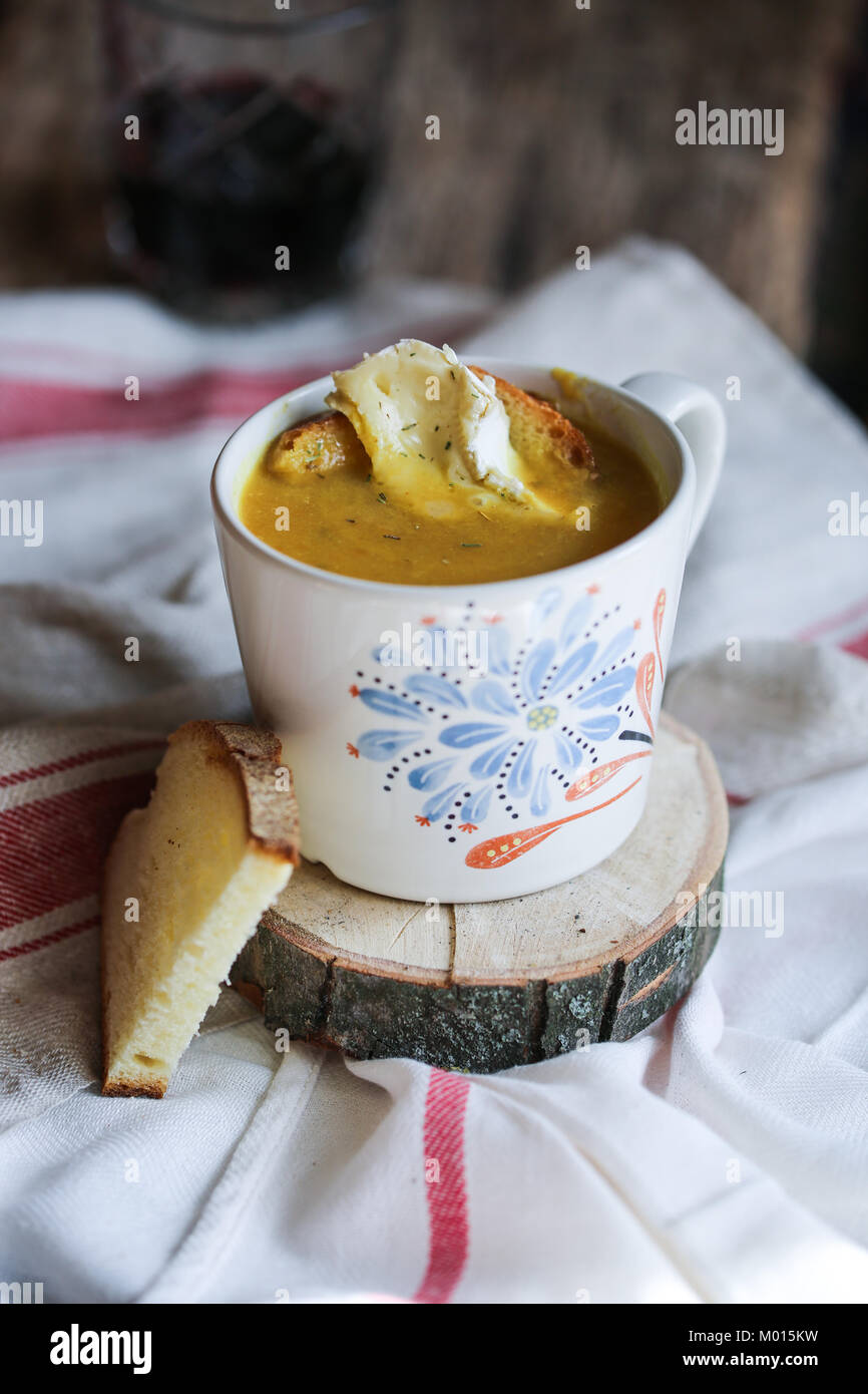 Fennel, pumpkin and lentil soup with turmeric. - Stock Image