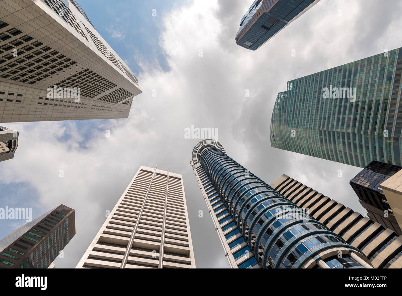 Office buildings in Raffles Place, Singapore - Stock Image
