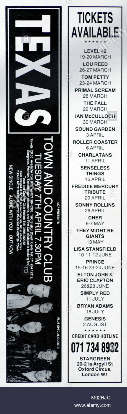 Magazine advert with UK tour dates for Texas 1992 - Stock Image