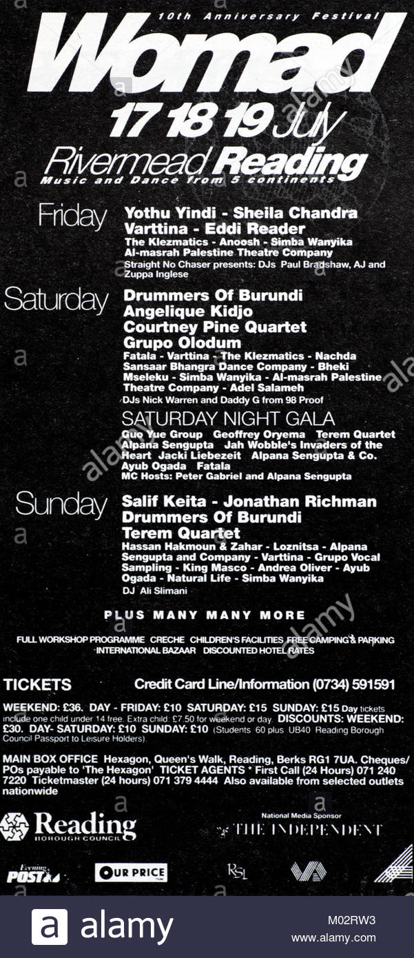 Magazine advert with groups attending the Womad festival 1992 - Stock Image