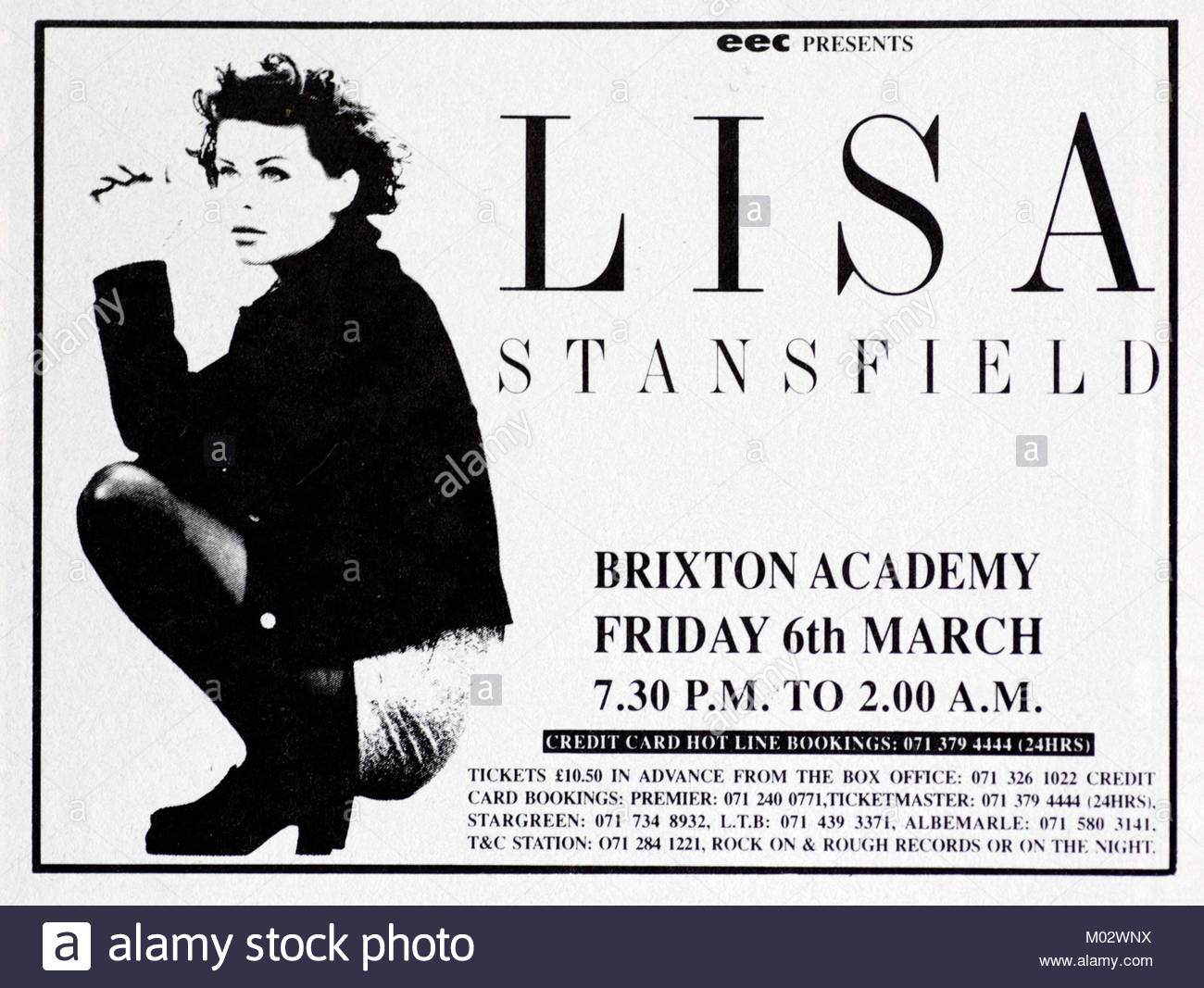 Magazine advert with tour date for Lisa Stansfield 1992 - Stock Image