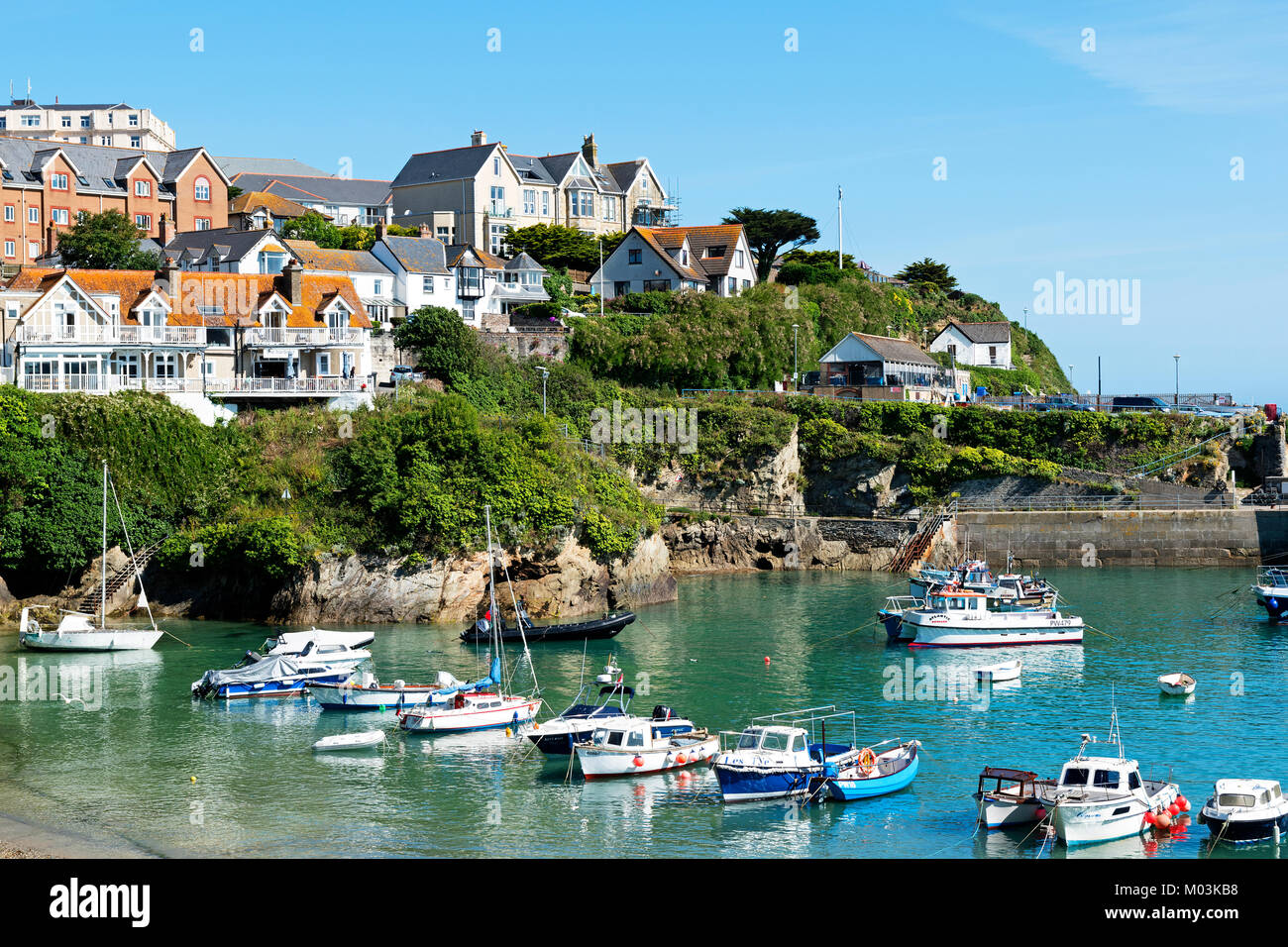 fishing boats in the harbour at newquay, cornwall, england, britain, uk. - Stock Image