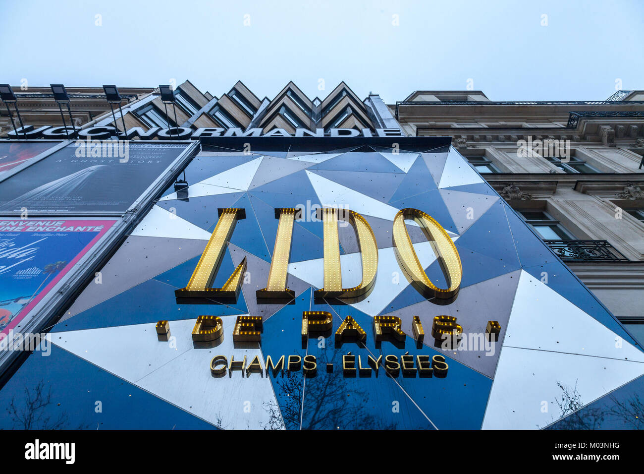 PARIS, FRANCE - DECEMBER 20, 2017: Logo of Lido de Paris club on their main building during the afternoon. Le Lido - Stock Image