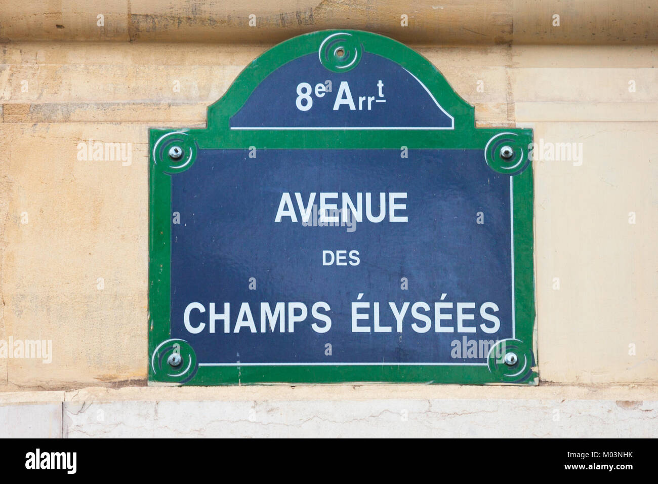 Street sign indicating Champs Elysees Avenue in Paris, France. Champs Elysees, located in western paris, is one - Stock Image