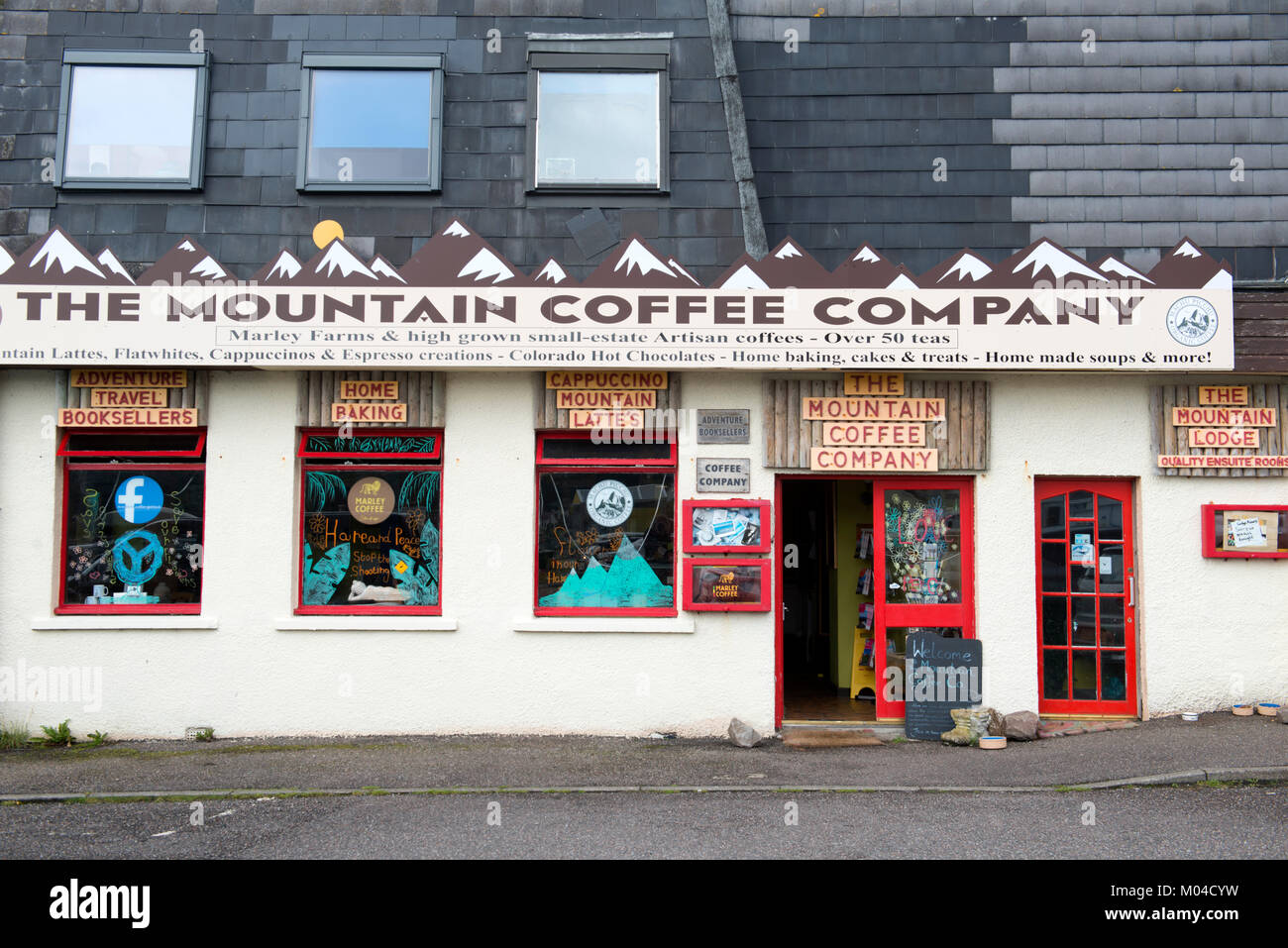 The Mountain Coffee Company coffee shop in Gairloch, Wester Ross, Scotland - Stock Image