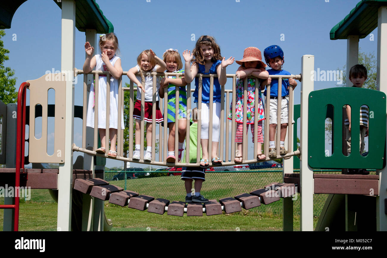 Children on playground at Rise School, Tuscaloosa, Alabama - Stock Image