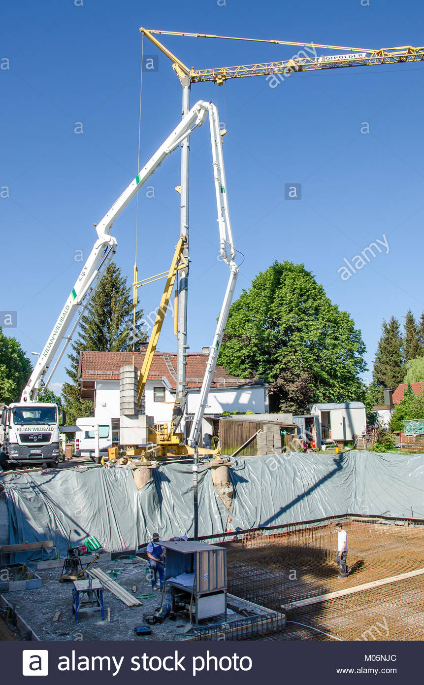 A foundation or base is the element of an architectural structure which connects it to the ground and transfers - Stock Image