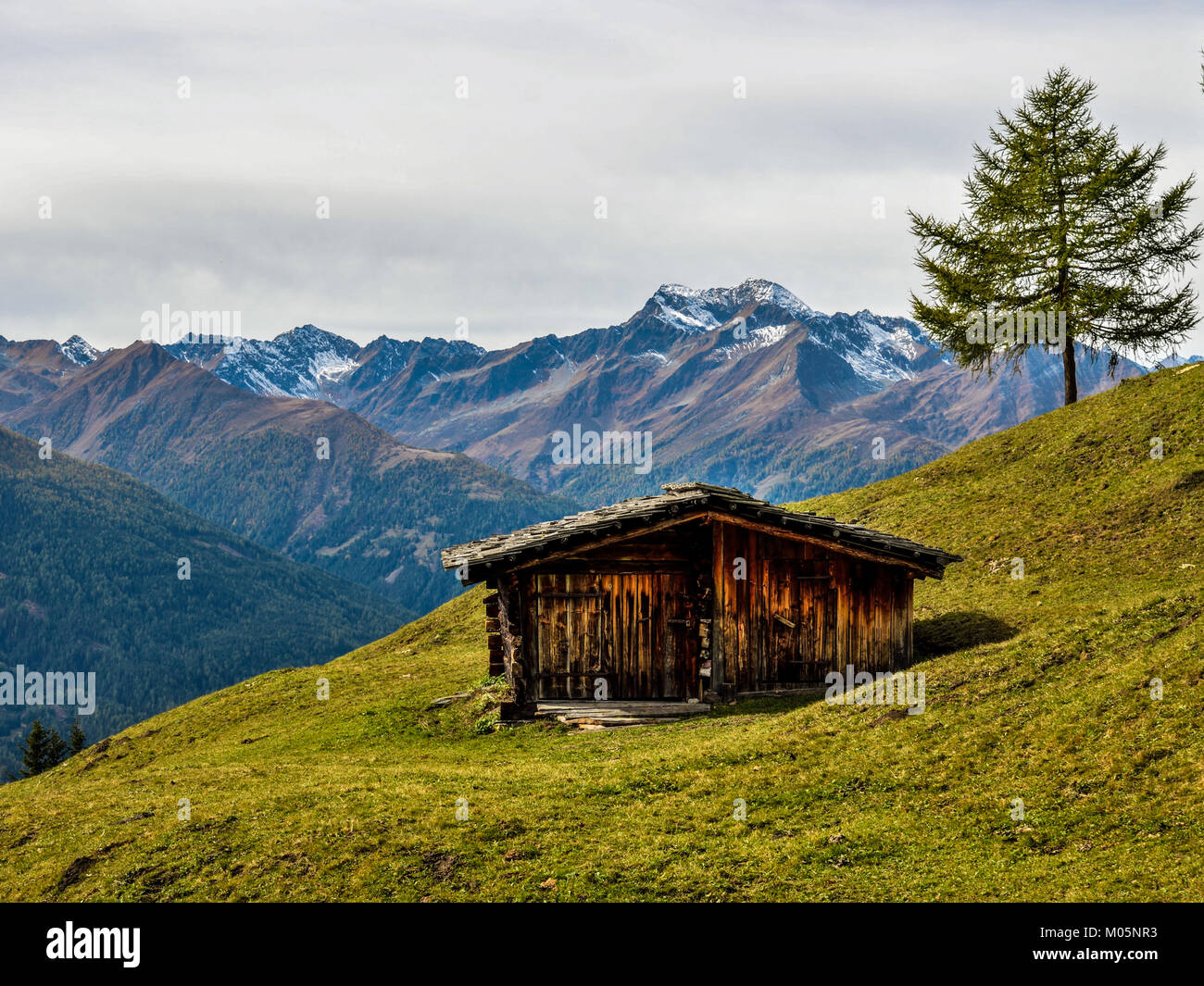 alpine hut or barne in front of Mt. Lasoerling in fall, East Tyrol, Austria, Europe - Stock Image