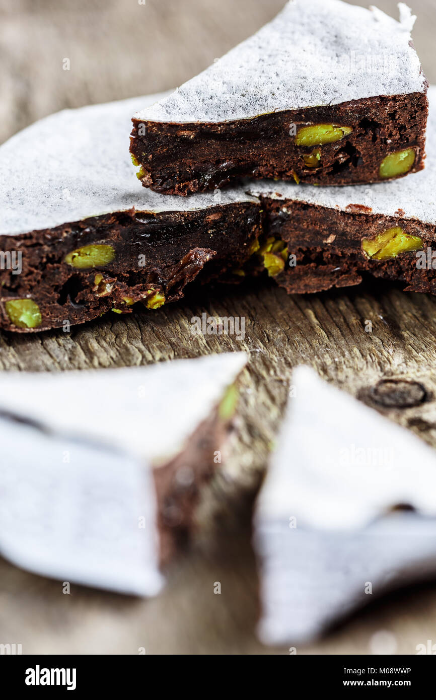 Chocolate and pistachio Panforte tuscan cake - Stock Image