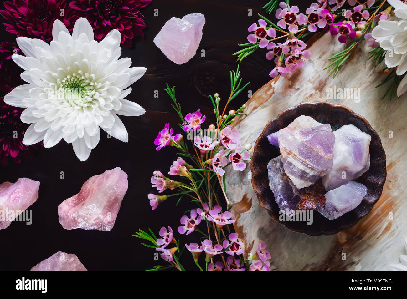 Rough Amethyst and Rose Quartz with Chrysanthemums and Pink Flowers on Dark Table and Pink Flowers on Dark Table - Stock Image