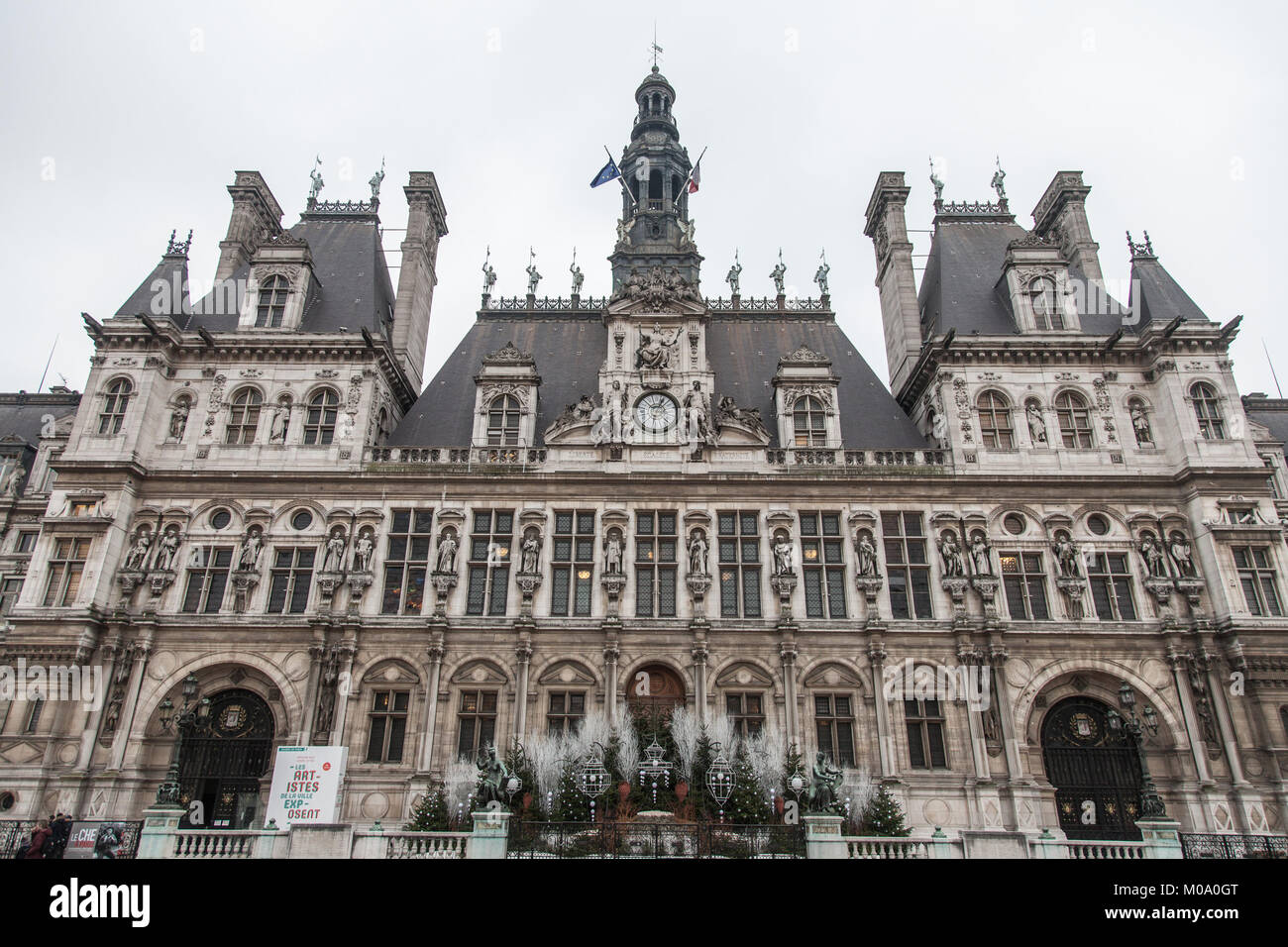 PARIS, FRANCE - DECEMBER 20, 2017:  Paris City Hall (Hotel de Ville) taken in winter during a cloudy afternoon. - Stock Image