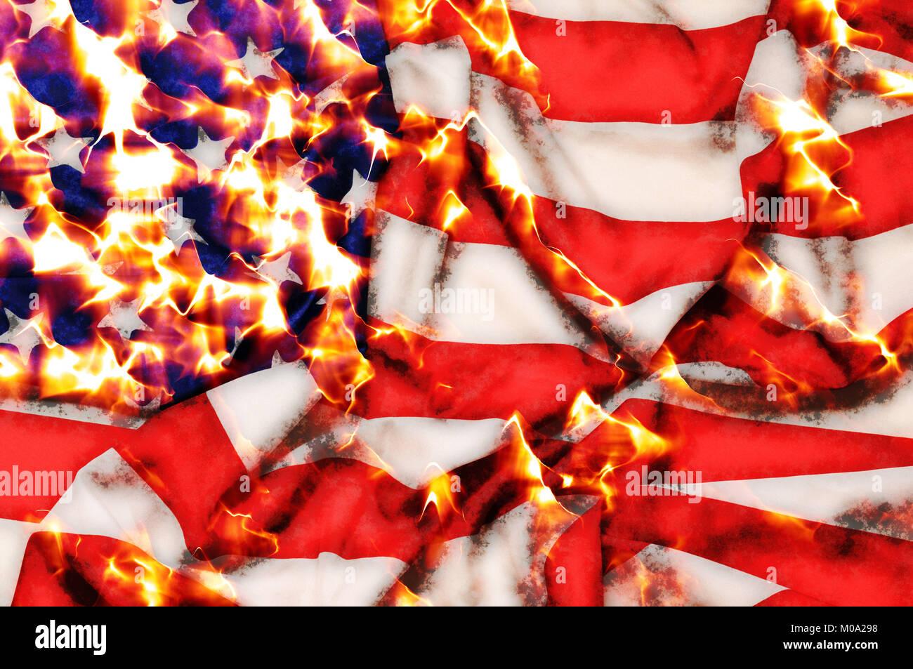 USA flag burning - Stock Image