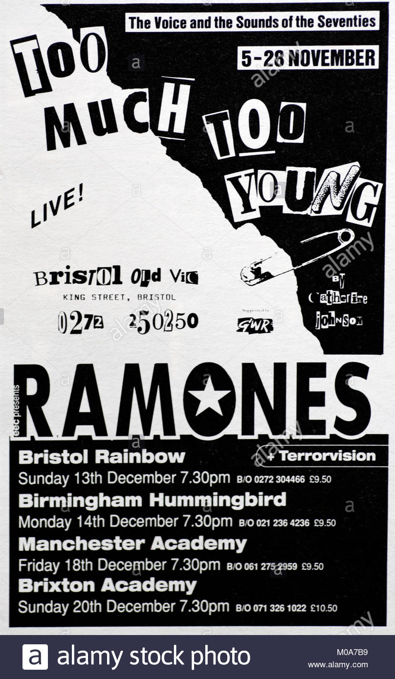Magazine advert with UK tour dates for the Ramones 1992 - Stock Image