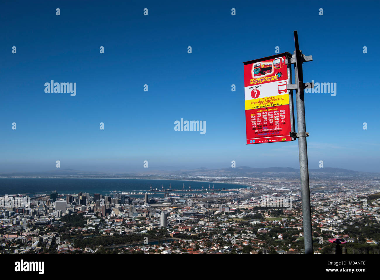 Hop-on hop-off bus stop below Table Mountain in Cape Town, South Africa - Stock Image