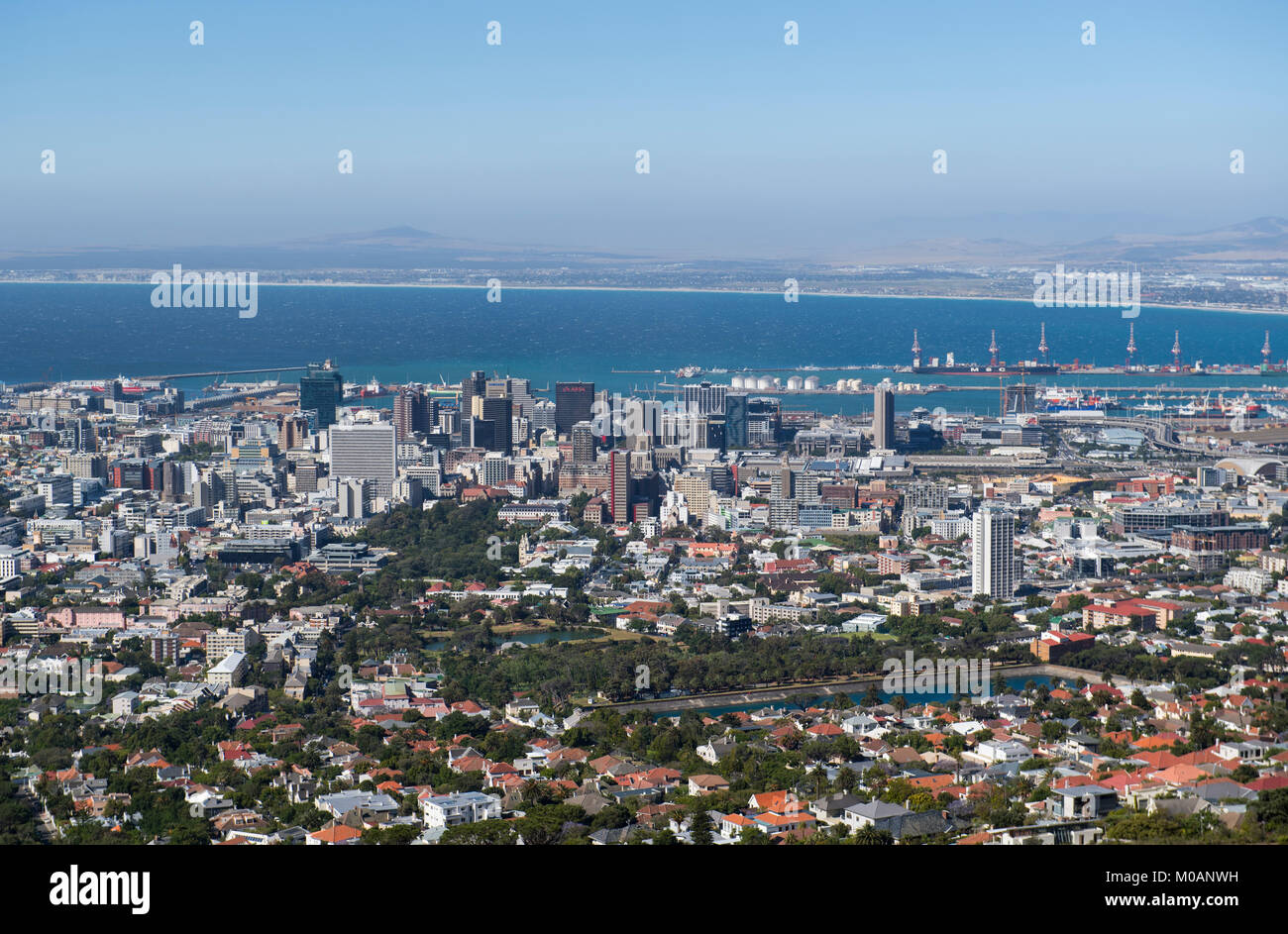 View of Cape Town city center from the foot of Table Mountain, South Africa - Stock Image