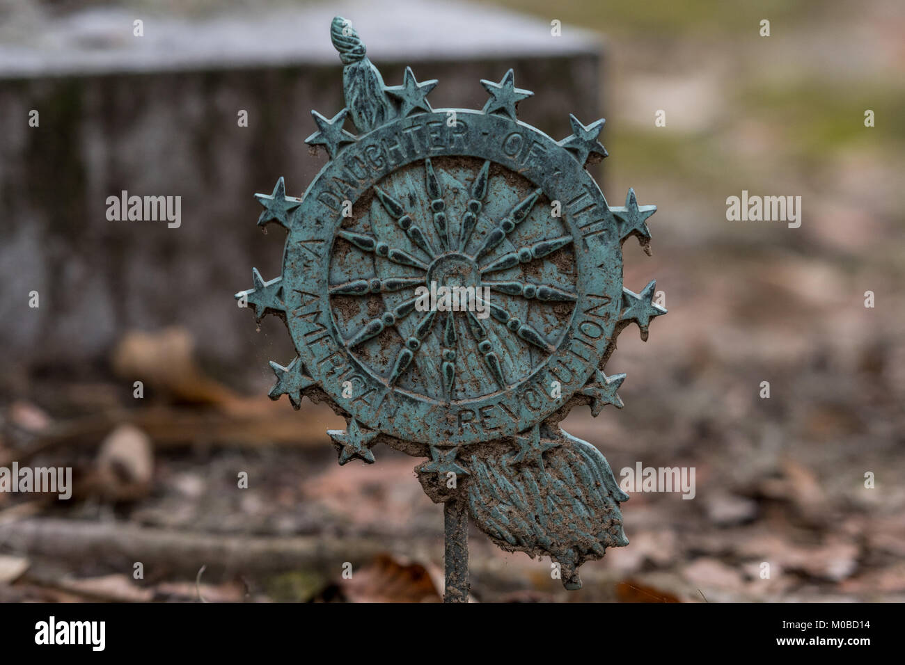 Daughter of the American Revolution Grave Marker in historic graveyard - Stock Image