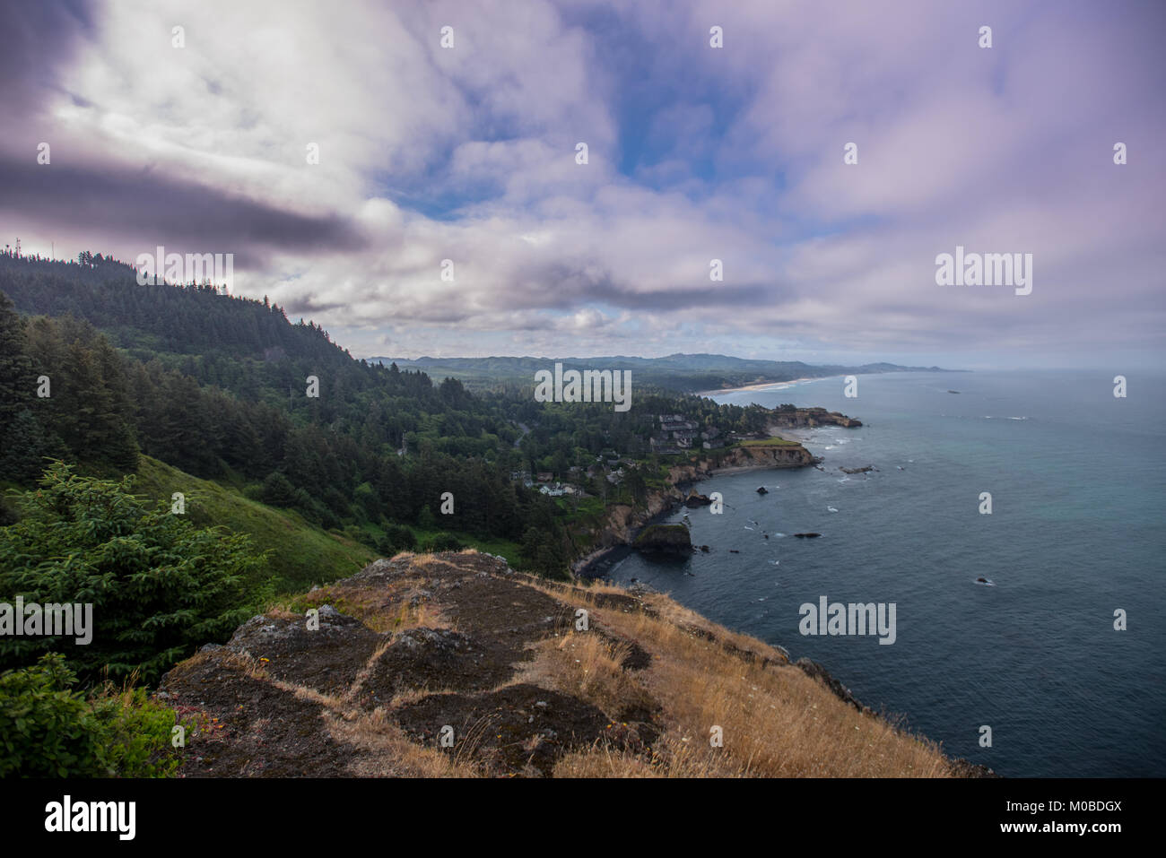 Looking Down the Oregon Coast Near Devil's Punchbowl - Stock Image