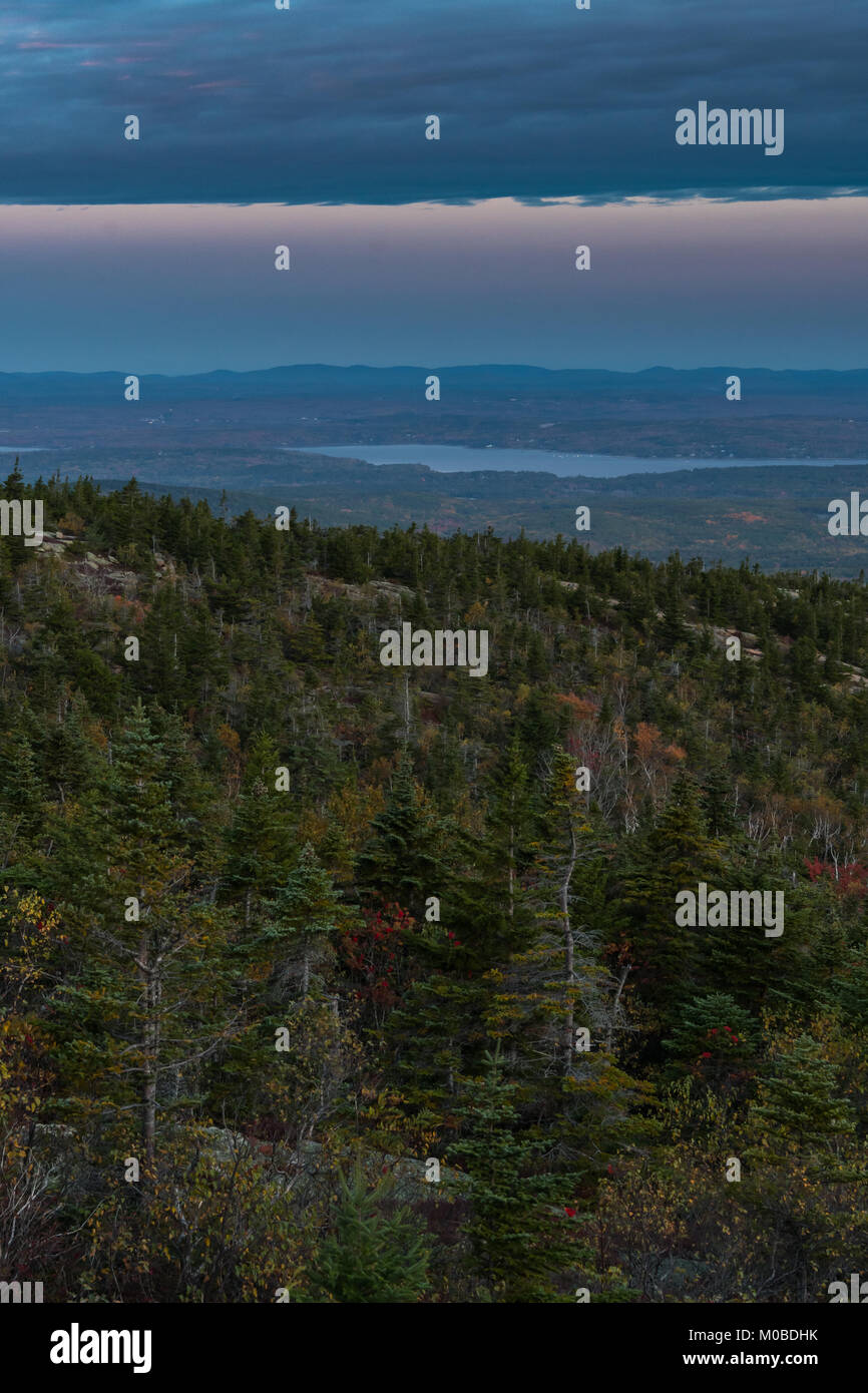 Looking West from Cadillac Mountain over Bar Harbor - Stock Image
