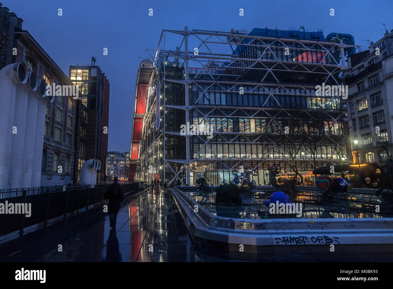 PARIS, FRANCE - DECEMBER 20, 2017:  Centre Pompidou at night. located in beaubourg District, it is the biggest modern - Stock Image