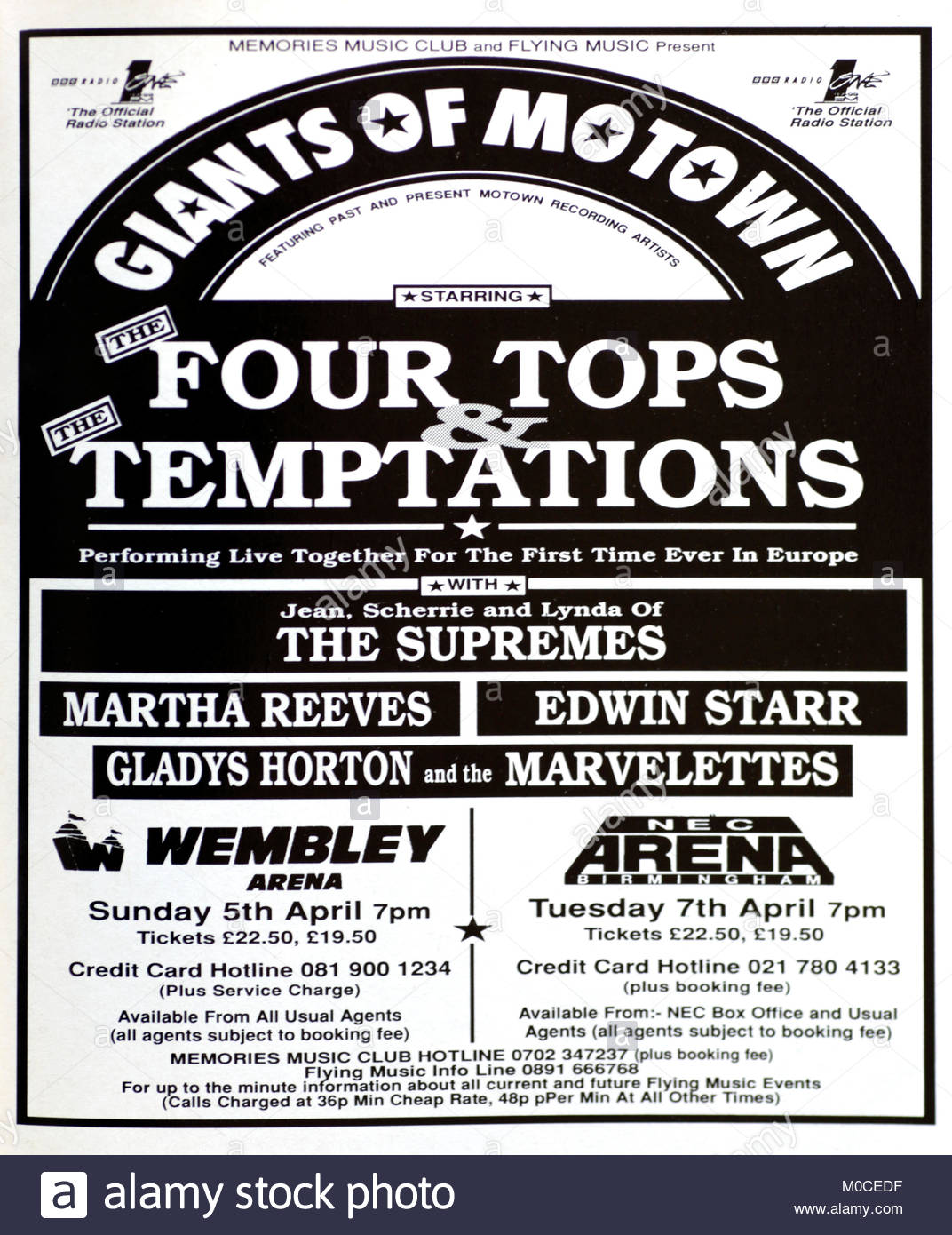Magazine advert with UK tour dates for The Four Tops and the Temptations 1992 - Stock Image