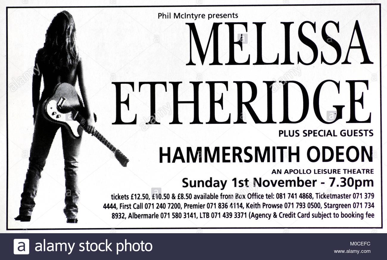 Magazine advert with UK tour dates for Melissa Etheridge 1992 - Stock Image