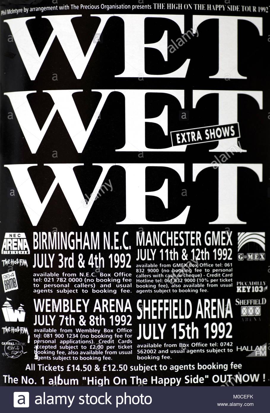 Magazine advert with UK tour dates for  Wet Wet Wet 1992 - Stock Image