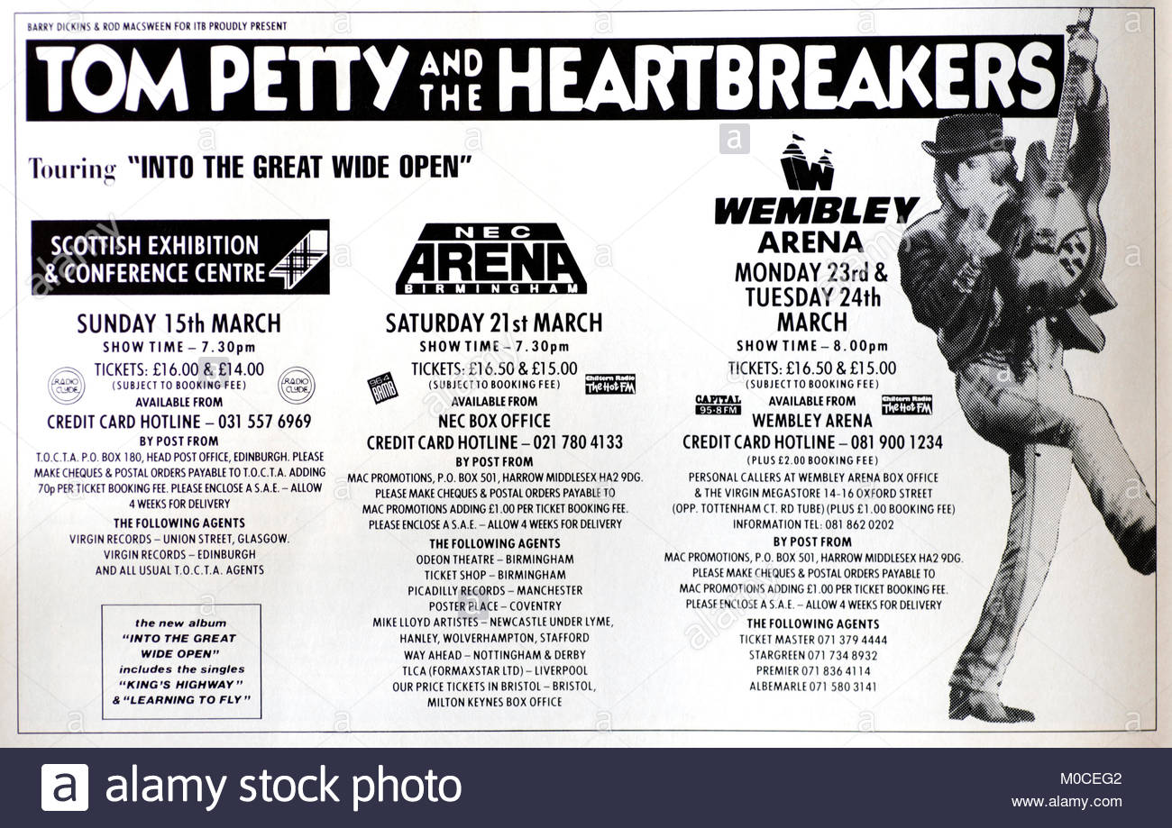 Magazine advert with UK tour dates for Tom Petty and the Heartbreakers 1992 - Stock Image