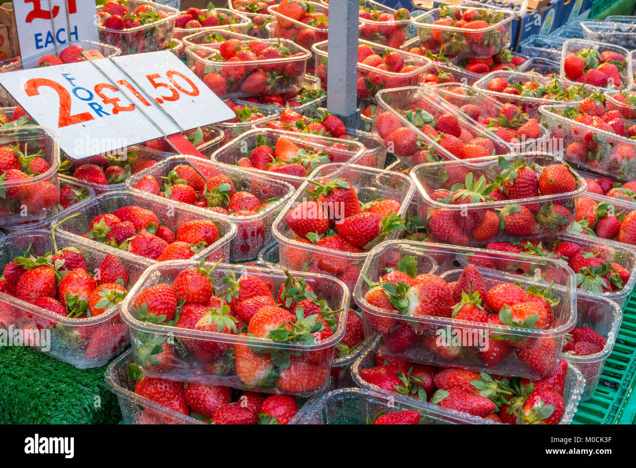 punnets-of-strawberries-on-a-market-stall-they-are-wet-because-it-M0CK3F.jpg
