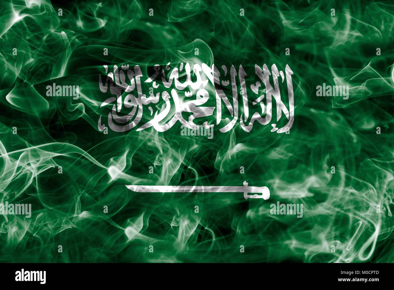Saudi Arabia smoke flag - Stock Image