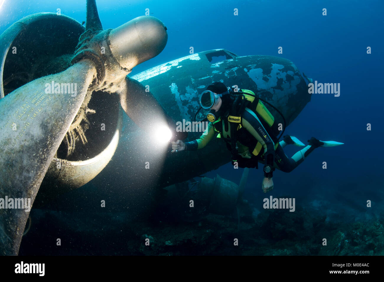 Scuba diver at Douglas C-47, Dakota, military version of the DC-3, sunken for scuba divers at 2008, Bodrum, Aegaen, - Stock Image
