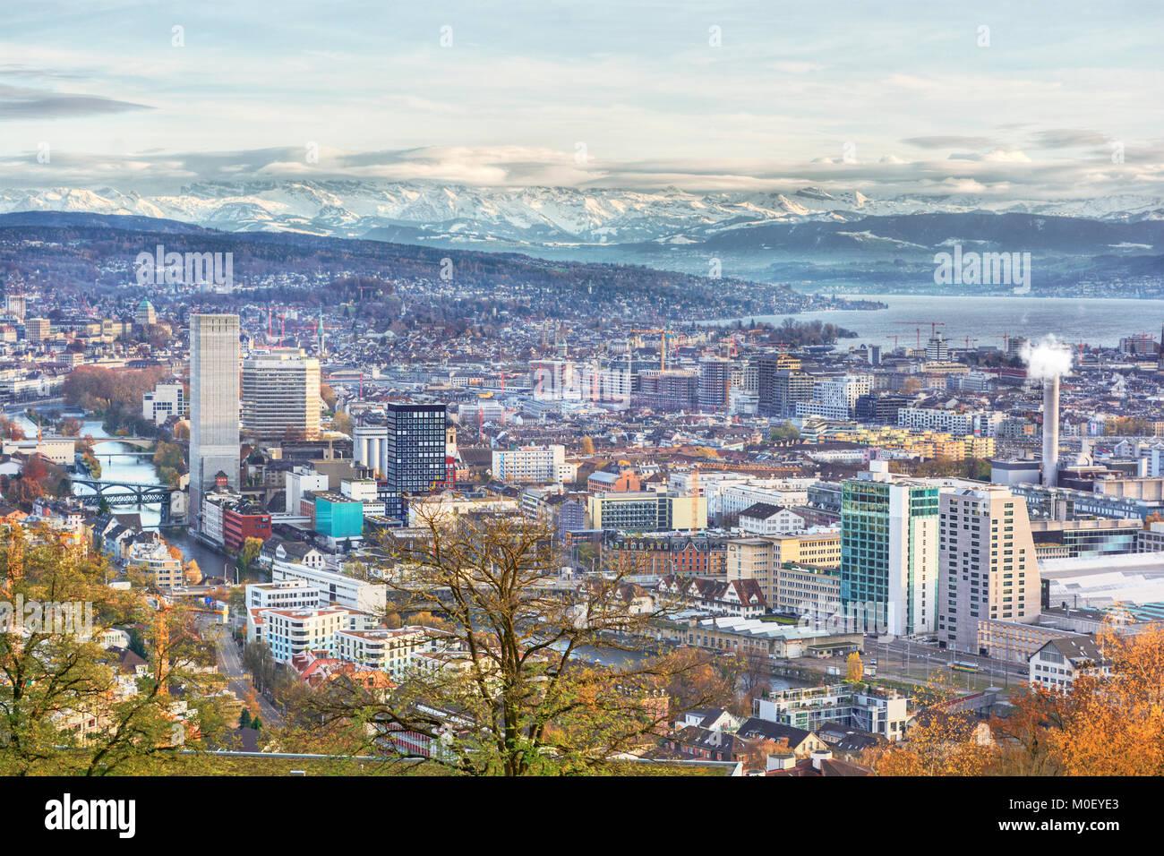 Cityscape of Zurich (Switzerland), HDR-technique - Stock Image