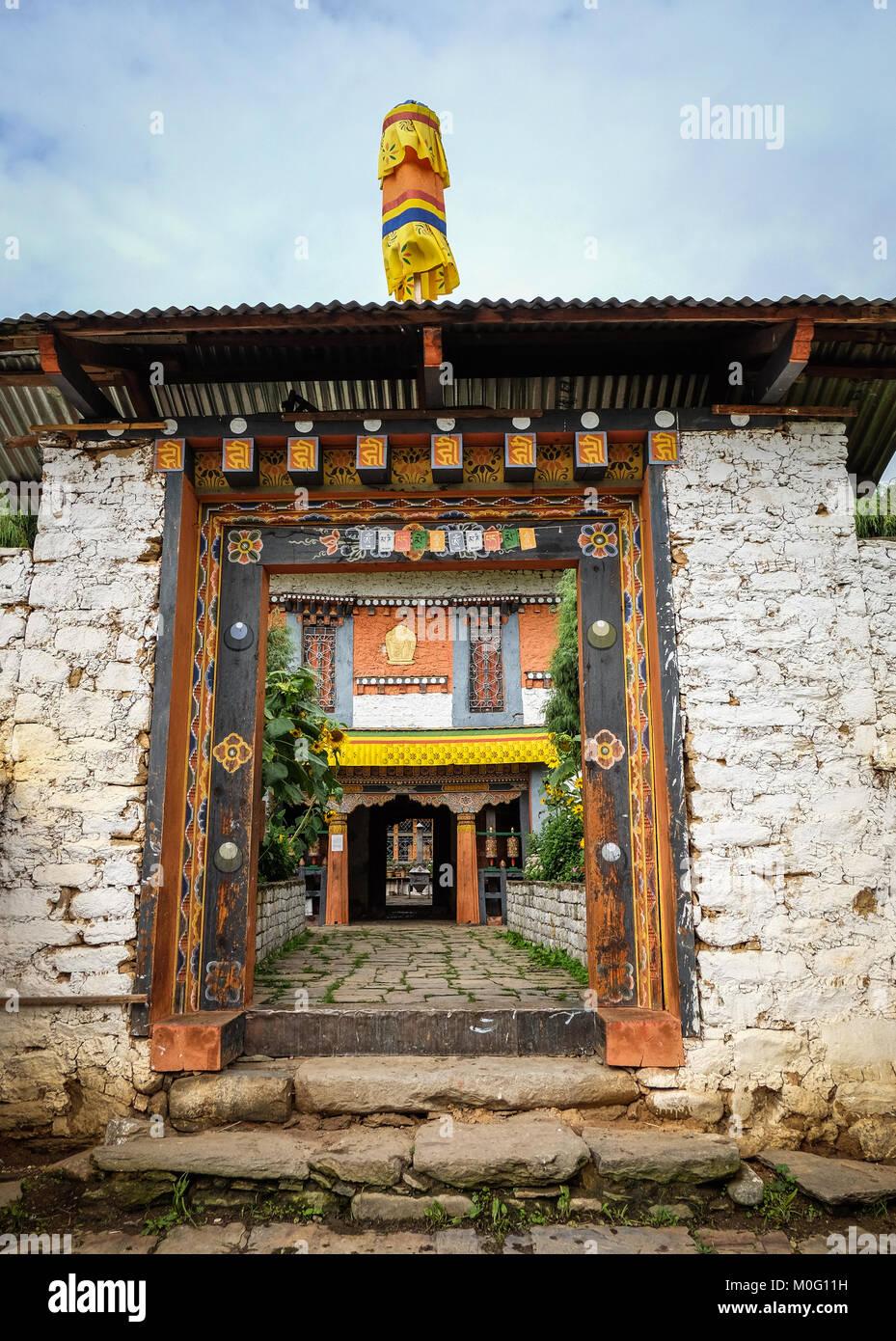 Thimphu, Bhutan - Aug 30, 2015. The gate of Buddhist monastery in Thimphu, Bhutan. It is believed that Buddhism - Stock Image