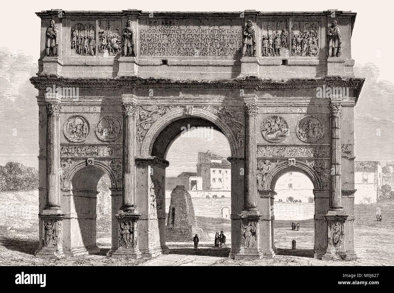 The Arch of Constantine, Via triumphalis, Rome, Italy, 19th Century - Stock Image