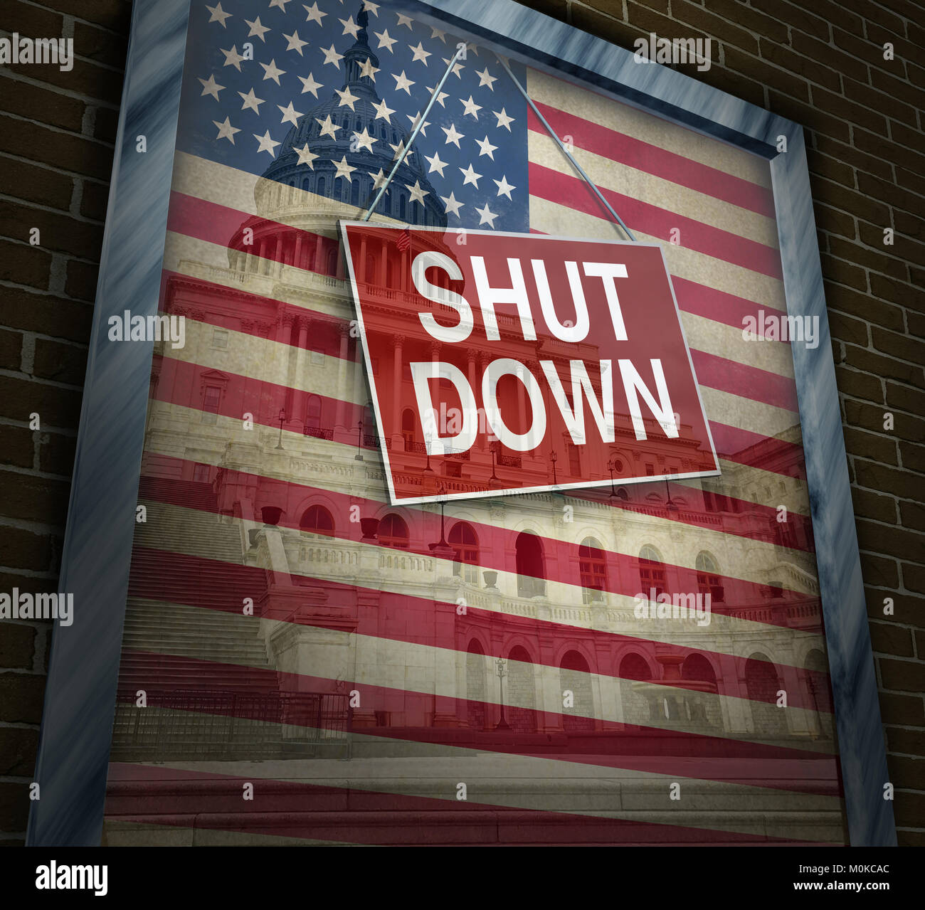 Shutdown government and United States federal system shuts down with a disagreement with republicans and democrats - Stock Image