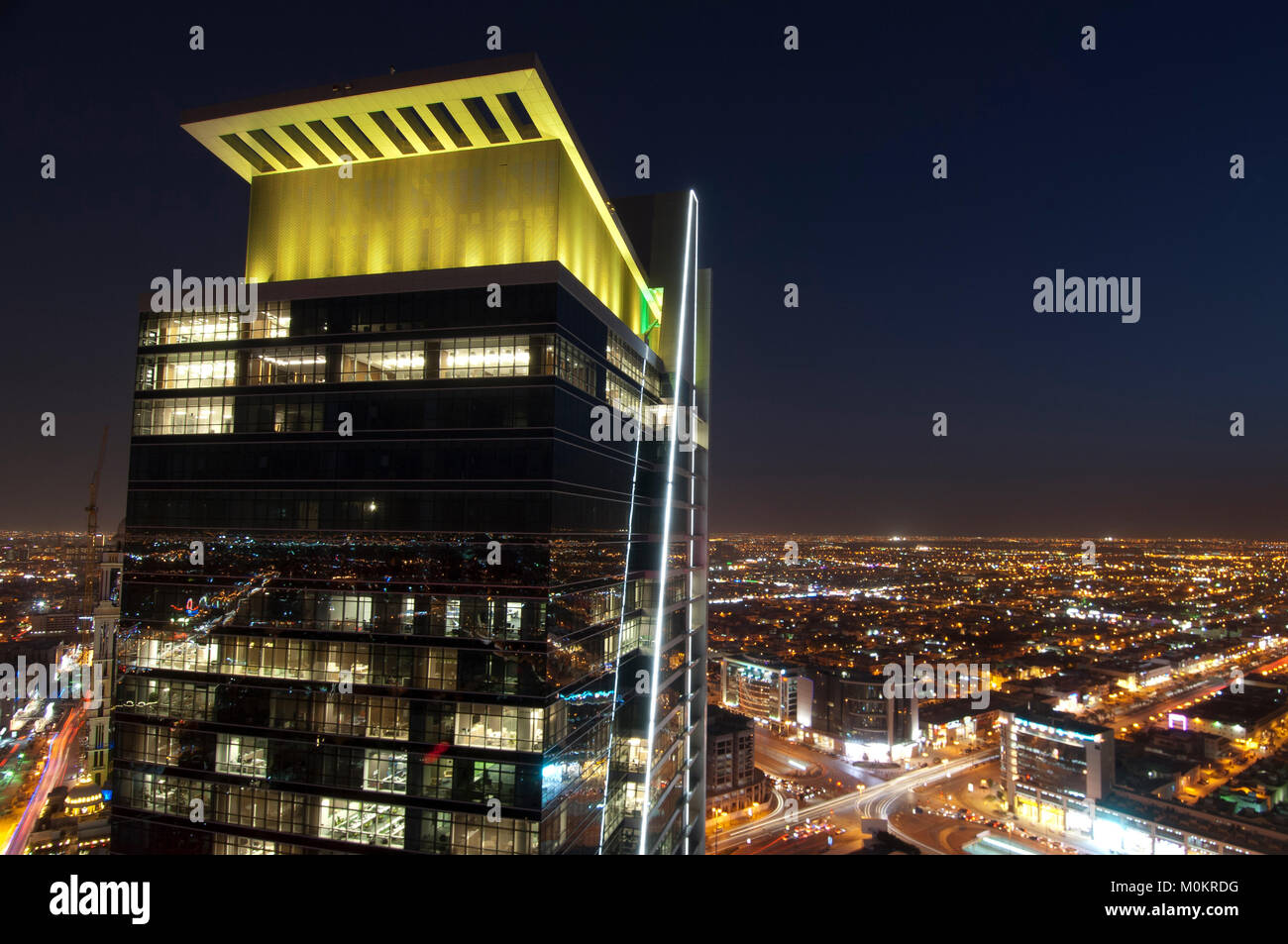 Riyadh skyline at night - Stock Image