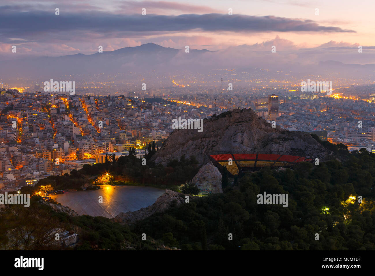 View of Athens from Lycabettus hill at dawn, Greece. - Stock Image