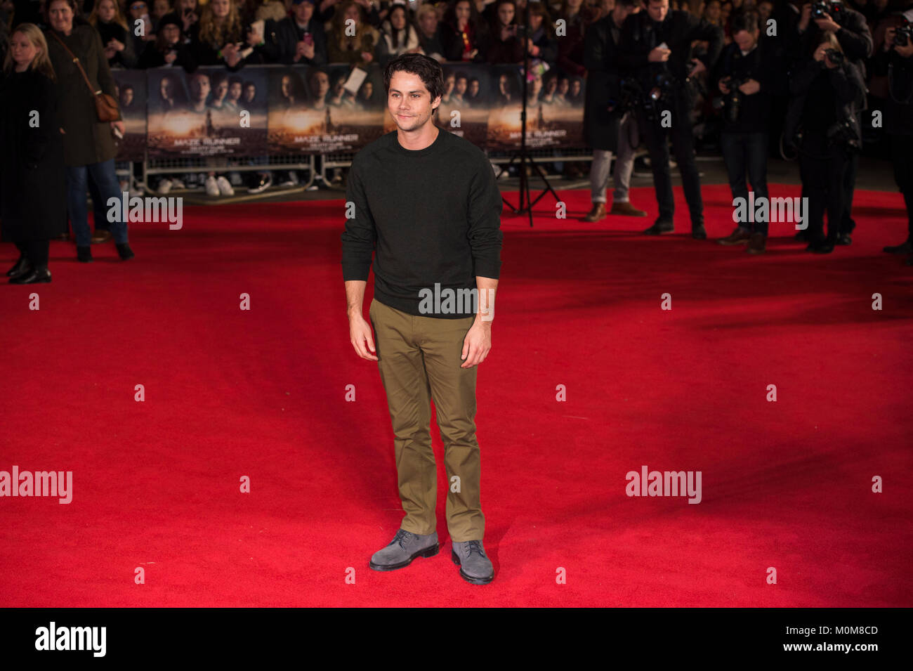 London, UK. 22nd Jan, 2018. Dylan O'Brien attends the 'Maze Runner: The Death Cure' film premiere, London, - Stock Image