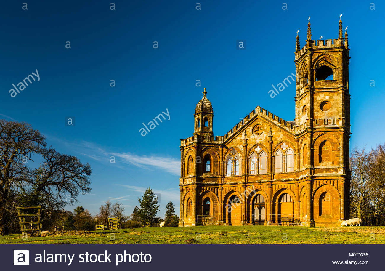 Gothic Temple at Stowe Landscape Gardens, Buckinghamshire, UK - Stock Image
