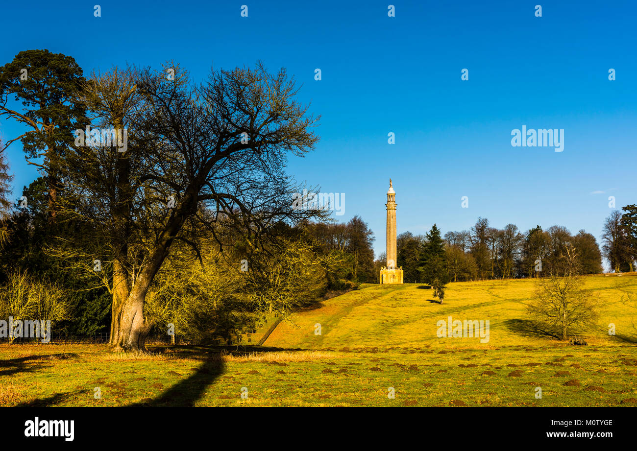 Lord Cobham's Pillar at Stowe Landscape Gardens, Buckinghamshire, UK - Stock Image
