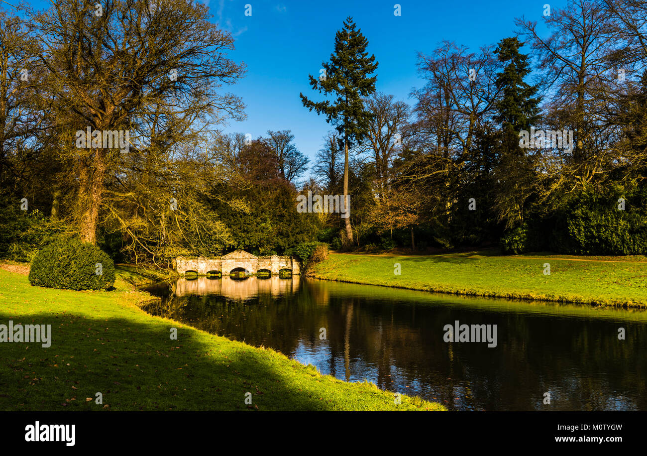 Shell Bridge at Stowe Landscape Gardens, Buckinghamshire, UK - Stock Image