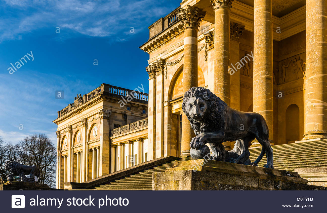 Medici Lion at Stowe House, Buckinghamshire, UK - Stock Image