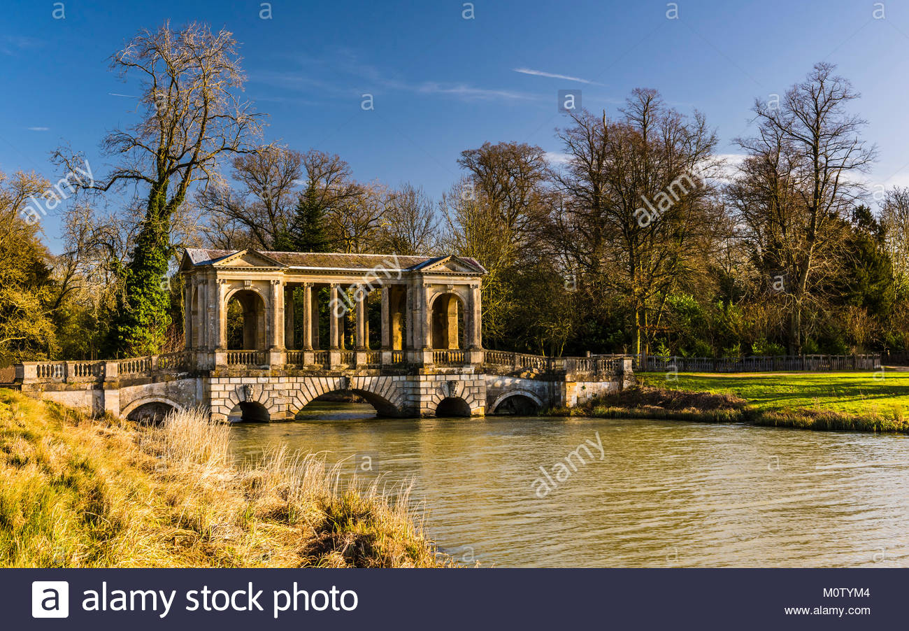 Palladian Bridge at Stowe Landscape Gardens, Buckinghamshire, UK - Stock Image