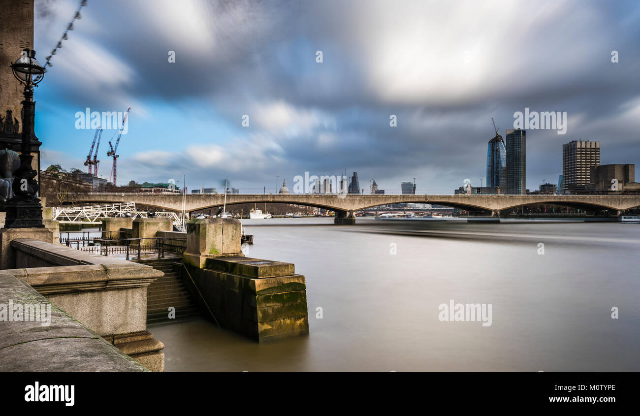 Waterloo Bridge and the City from Embankment, London, UK - Stock Image