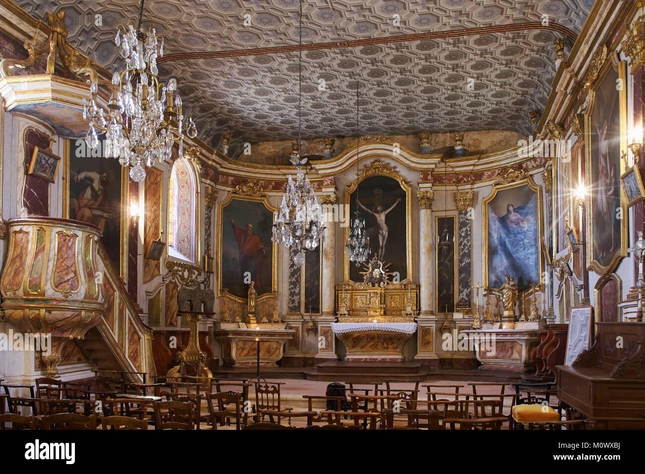 France,Tarn et Garonne,Lachapelle,Interior decoration of St Peter's Church - Stock Image