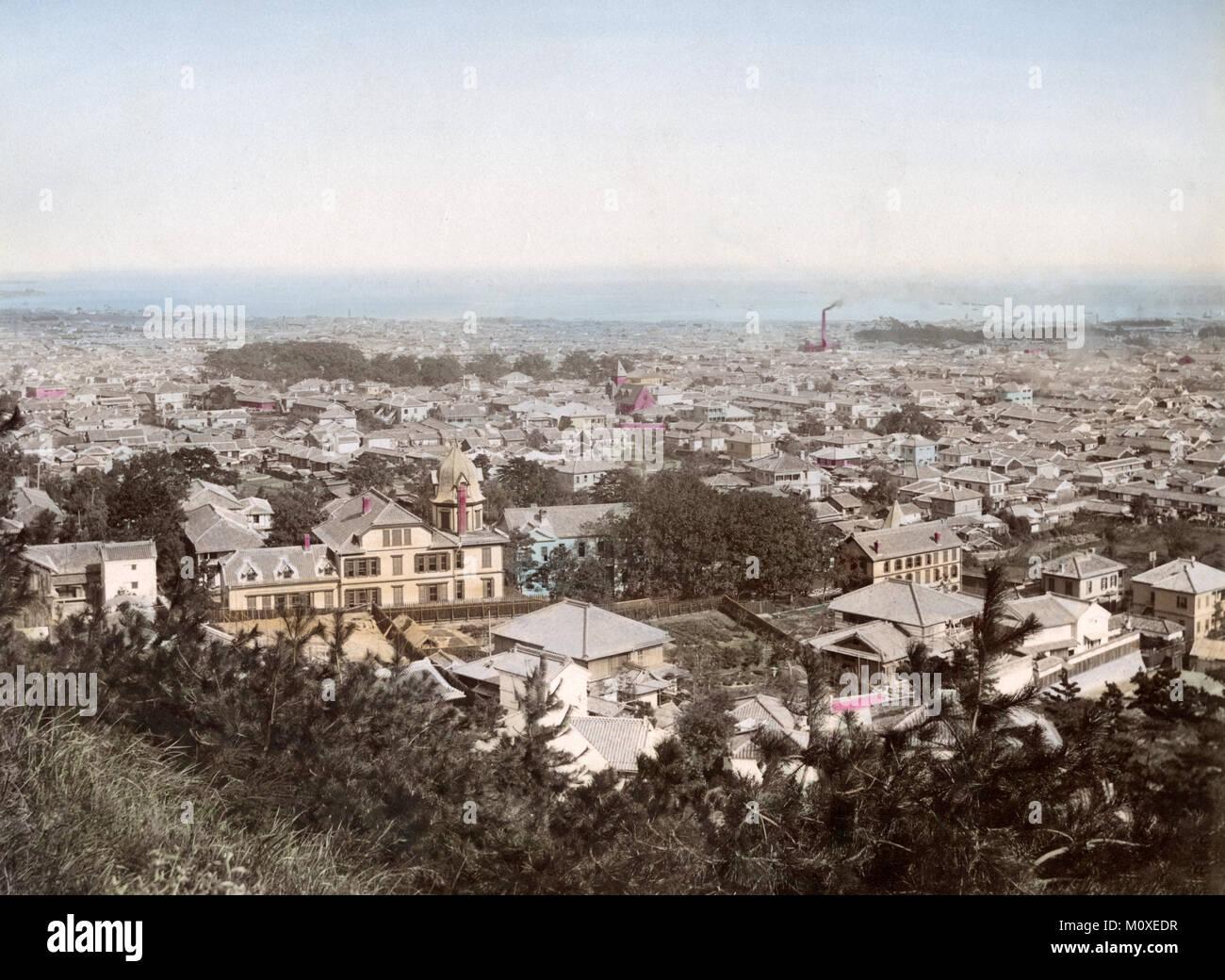 Panoramic view of Kobe, Japan, c.1890 - Stock Image